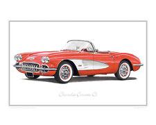 Chevrolet Corvette C1 - Limited Edition Classic Car Print Poster by Steve Dunn