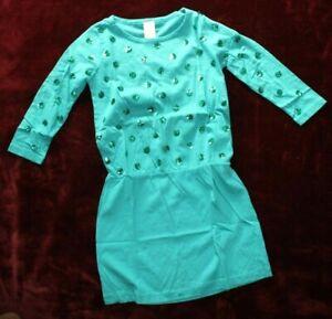 ❤️ J.CREW Sparkle Dots Retro Jade Green Cotton Tunic Dress Girls 10 NEW! L@@K!