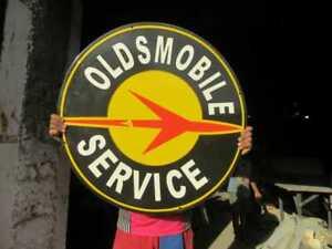 """Porcelain Oldsmobile Service Enamel Sign Size 30"""" Inch Round"""
