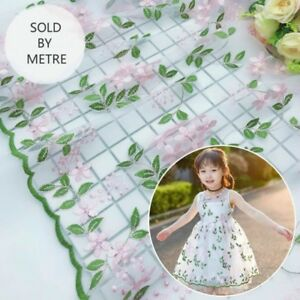 Floral Tulle Fabric Lace Embroidered Net Cloth Tutu Dress Crafts By Metre