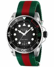 Gucci Dive Black Dial Green and Red Nylon Men's Watch-YA136209