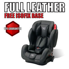 LEATHER Group 123 isofix Car seat LEATHER combination child booster sport blue