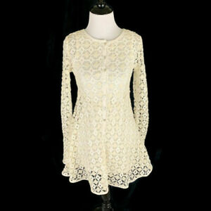 Free People Women's Size XS Beach Crochet Dress Mini Dress Semi Sheer Ivory