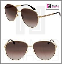 c86f363cfab GUCCI WEB 0138 Gold Metal Etched Aviator Brown POLARIZED Sunglasses 2280  GG0138