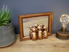 Decorative Three Peeping Monkeys Mirror Freestanding Bronze Gold Frame Home Gift