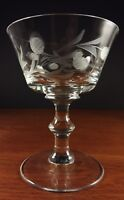 """4 Arcadia Colonial Thistle Etch Champagne Sherbet Glasses 4 7/8"""""""