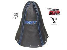 """Gear Stick Gaiter For Suzuki Swift 2005-2010 Leather """"SWIFT"""" Blue Embroidery"""