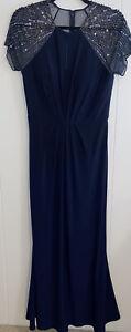 Mother of Bride Groom Long Dress Short Sleeve Sequins Comfortable Navy Blue SZ 8