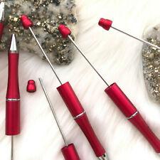 Beadable Plastic Pen Retractable Writing Instrument DIY Craft Beaded Pen Red