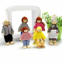 6x Holz Stoff Personen Puppenfamilie Biegepuppen für Kinder Puppenhaus Spielzeug