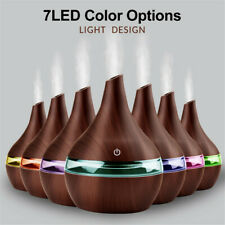 300ml LED Wood Humidifier Ultrasonic Air Purifier Oil Aroma Diffuser Home Office