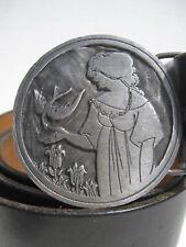 Beardsley Pewter Buckle Lady Woman w Dove Bird McManus Ny Black Leather Belt