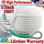 12inch 200ft Twisted 3 Strand Nylon Anchor Rope Braided Boat Line W Thimble