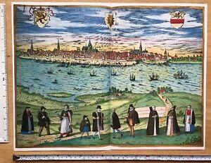 Old Antique Map of Rostock, Germany: 1598 Braun & Hogenberg REPRINT 1500s Tudor