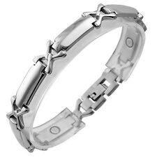 "New Men Arthritis Therapy Magnet Stainless Steel Bracelet With X Design (8.25"")"