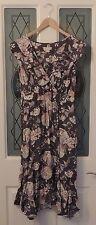 MONSOON Grey Lilac Oriental Blossom Bird Butterfly Ruffle Dress Size 16 Ex Con