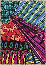 SEArts Fractured Prism ACEO ORIGINAL Vivid Colors Abstract Zentangle Zendoodle