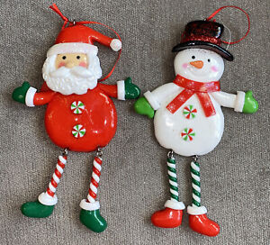 Santa And Snowman Candy Cane Set Of 2 Christmas Tree Hanging Decoration