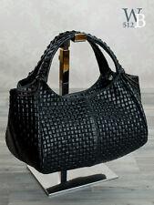 italien Sac de soirée À Main Pour Femmes Aspect tressé véritable cuir noir 953S