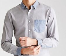 NWT Forever 21 Men's Shirt L Gray Blue Chambray Colorblock 100% Cotton Slim Fit