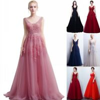Long Vintage Bridesmaid Dress Lace Wedding Party Prom Gowns Formal Evening Dress