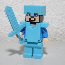 Steve Diamond Armor Helmet Sword 21117 21122 Minecraft LEGO Minifigure Figure