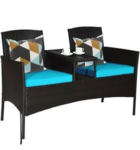 Tangkula Outdoor Rattan Loveseat, Patio Conversation Set with Cushions & Table