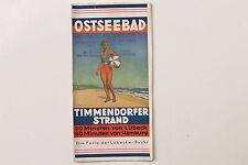 20791 alter Reise Prospekt Ostseebad Timmendorfer Strand 1931 mit Stadtplan