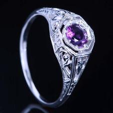 14K White Gold Round Cut Gorgeous Amethyst Wedding Jewelry Vintage Fine Ring