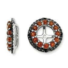 Platinum Sterling Silver Black Sapphire & Garnet Halo Earring Jackets For Studs