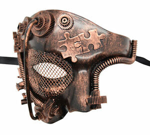 New Bronze Half-Face Steampunk Unisex Couple Mask Play Wedding Halloween Bachelor