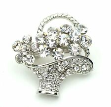 Bridal Wedding Bouquet Bucket of Flowers Shiny Diamante Small Brooch Pin BR267