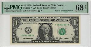 2009 $1 FEDERAL RESERVE NOTE BOSTON RADAR SERIAL PMG SUPERB GEM UNC 68 EPQ