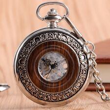 Wood Design Roman Numerals Mechanical Pocket Watch Half Hunter Chain Gift Bag