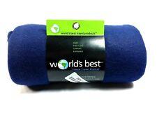 World's Best Cozy-Soft Microfleece Travel Blanket, Navy blue super soft