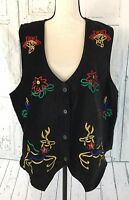Bobbie Brooks Women's Vest Size 18W / 20W Sleeveless Black Velvet Christmas Vest