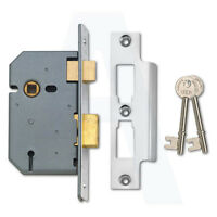 Union 2277 3 Lever Mortice Door Sashlock 50mm Satin Chrome Keyed To Differ