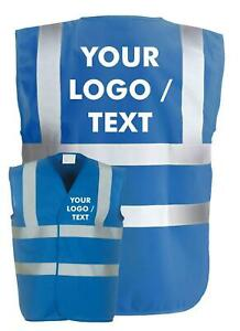 Personalised Custom Printed Hi Viz High Vis Safety Vest Waistcoat Blue