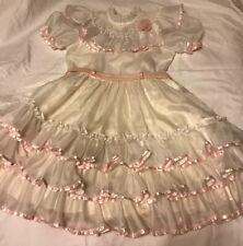 VTG Gold Bell Party Pageant Dress Little Girls Sheer Ruffles Size 12 Victorian