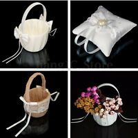 Holy Wedding Flower Girl Basket /Ring Pillow Bowknot Satin Diamond Party