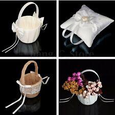Holy Wedding Flower Girl Basket /Ring Pillow Bowknot Satin Diamond Party