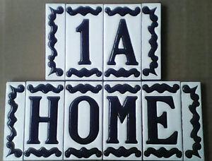 Spanish Ceramic Hand Painted Dark Blue House Number Letter Tiles 10x5cm FREE P/P