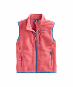 NWT  Vineyard Vines Kids Flag Patch Grid Fleece Vest Jacket Outerwear Full Zip L