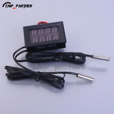 0.56'' LED Dual Red Digital Display Thermometer Metal Probe Temperature Sensor