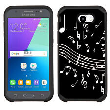 2-Layer Phone Case (Blk) for Samsung Galaxy J7 Prime -Music Notes / Black