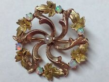 10K ROSE AND YELLOW GOLD OPAL BROOCH PIN