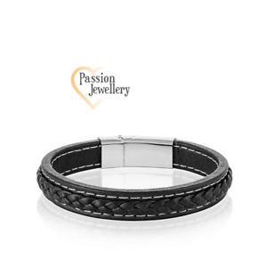 Bracelet Real Leather Men Titanium Steel Men's Wristband Fashion Black/Blue UK