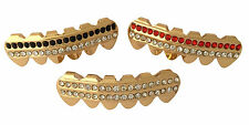 14k Gold Plated Mouth Teeth 3pc Lower Bottom Grillz Set - Rows of Bling