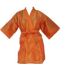 Kimono Bademantel Morgenmantel orange F1 S/M Bathrobe mit Gürtel und Taschen