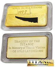 2012 British RMS Titanic 100 anniversary 1Oz 24kt Centenary Gold Memorial Bar